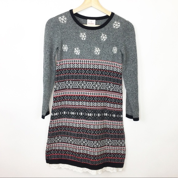 aac2aca72 Hanna Anderson Fair Isle Snowflake Sweater Dress